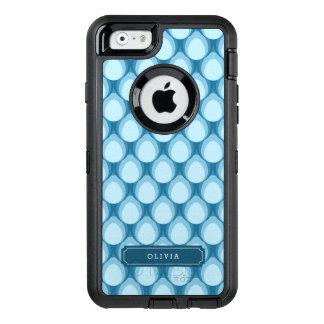 Stylish Personalize Blue Teardrop Pattern Monogram OtterBox iPhone 6/6s Case