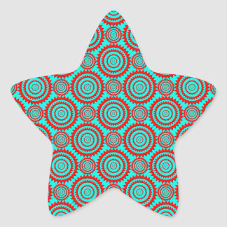 Stylish Red and Turquoise Modern Pattern Star Sticker