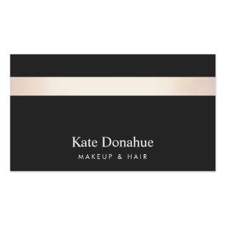 Subtle Rose Gold Striped Modern Stylish Black Pack Of Standard Business Cards