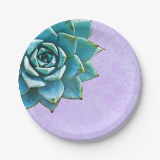 Succulent Watercolor  Lavender Lace 7 Inch Paper Plate
