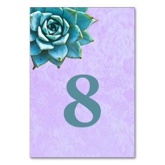 Succulent Watercolor Lavender Lace Table Cards