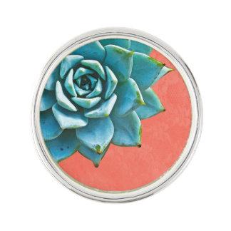 Succulent Watercolor Orange Lace Lapel Pin
