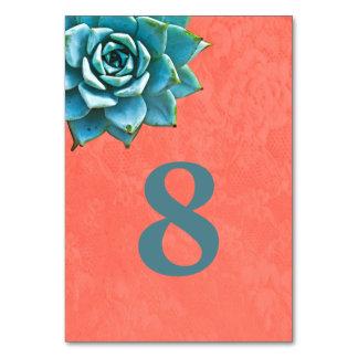 Succulent Watercolor Orange Lace Table Card