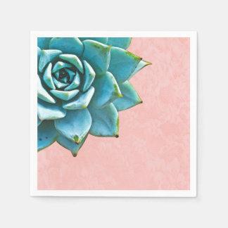 Succulent Watercolor Pink Lace Disposable Napkins