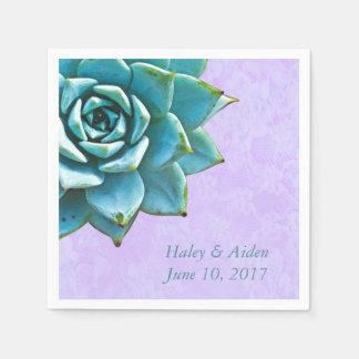 Succulent Wedding Engagement Watercolor Lavender Disposable Serviettes