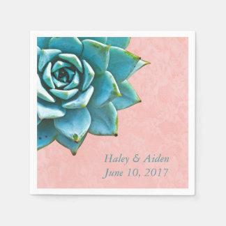 Succulent Wedding or Engagement Watercolor Pink Paper Napkins