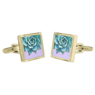 Succulent Wedding Watercolor Lavender Lace Gold Finish Cuff Links