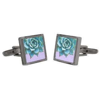 Succulent Wedding Watercolor Lavender Lace Gunmetal Finish Cufflinks