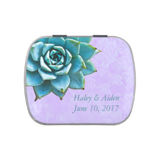 Succulent Wedding Watercolor Lavender Lace Jelly Belly Tin