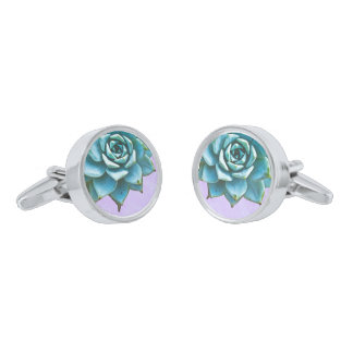 Succulent Wedding Watercolor Lavender Lace Silver Finish Cufflinks