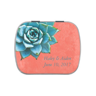 Succulent Wedding Watercolor Orange Lace Jelly Belly Tins