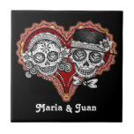 Sugar Skull Couple Novios Ceramic Tile - Customise