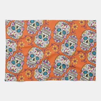 Sugar Skull Halloween Orange Towel