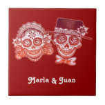 Sugar Skulls Day of the Dead Novios Ceramic Tile