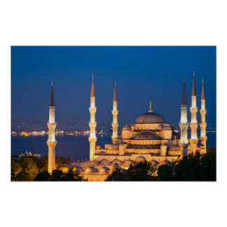 Sultan Ahmed Mosque during twilight Poster