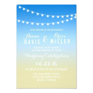 Summer Beach String Light Wedding Invites