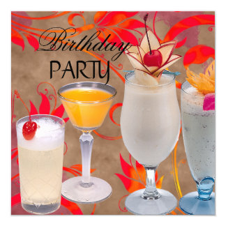 Summer Birthday Party Cocktails Tropical 13 Cm X 13 Cm Square Invitation Card