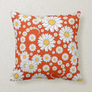 Summer Daisies on Bright Orange Cushion