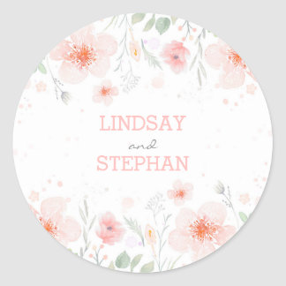 Summer Meadow Watercolor Pink Flowers Wedding Round Sticker