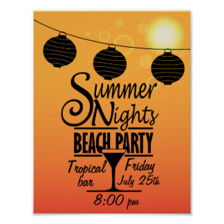 Summer nights beach party invitation design poster