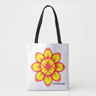 Summer Pink and Yellow Flower Personalized Tote Bag