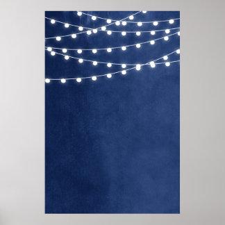 Summer String Lights Wedding Sign Poster
