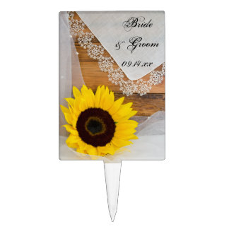 Sunflower and Lace Country Wedding Cake Toppers