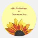 Sunflower Bookplate Round Sticker