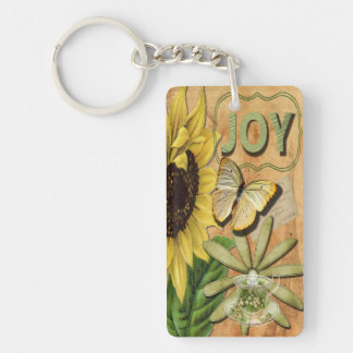 Sunflower & Eiffel Tower Single-Sided Rectangular Acrylic Key Ring