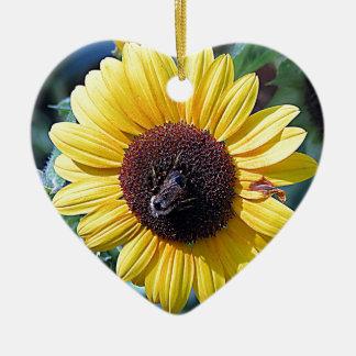 Sunflower Honey Bee Ceramic Heart Decoration