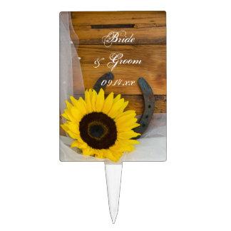 Sunflower Horseshoe Western Wedding Cake Toppers