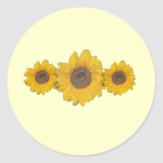 sunflower trio round sticker