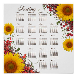 Sunflower Wedding Seating Chart   35 X 35in. Size Poster