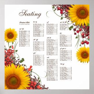 Sunflower Wedding Seating Chart Poster