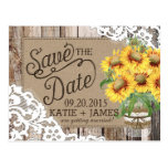 Sunflower Wood Lace Rustic Country Save the Date Postcard