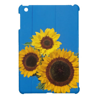 Sunflowers against blue fence cover for the iPad mini