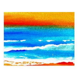Sunset Beach CricketDiane Ocean Art Postcard