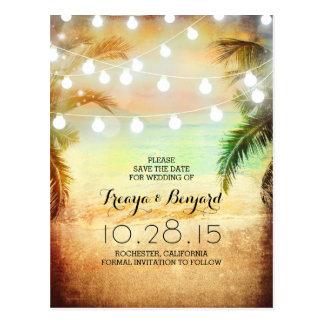 sunset beach & palm string lights save the date postcard