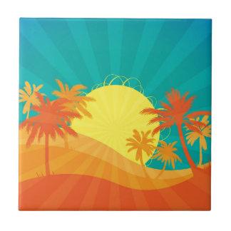 Sunset Beach tropical retro surf design Small Square Tile