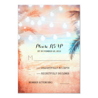 sunset beach twinkle lights pink wedding RSVP 9 Cm X 13 Cm Invitation Card