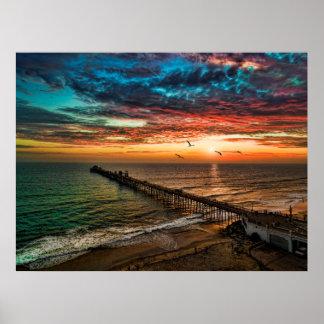 Sunset near the Oceanside Pier Poster
