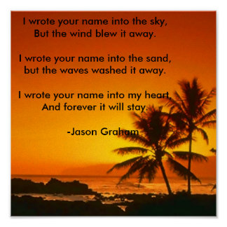 sunset-on-the-beach, I wrote your name into the... Poster