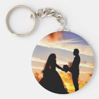 Sunset Wedding Couple Basic Round Button Key Ring
