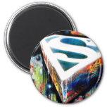 Superman Stylised   Urban Graffiti Logo 6 Cm Round Magnet