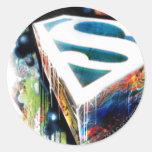 Superman Stylised   Urban Graffiti Logo Round Sticker