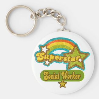 Superstar Social Worker Basic Round Button Key Ring