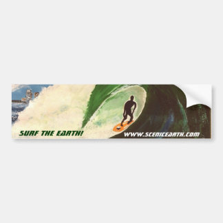 Surfing Surf the Earth Tube Ride Car Sticker Art Bumper Sticker