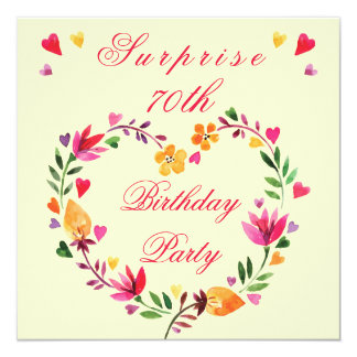 Surprise 70th Birthday Watercolor Floral Heart 13 Cm X 13 Cm Square Invitation Card