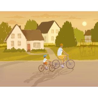 father & son riding bikes