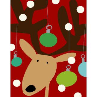 cute reindeer and ornaments